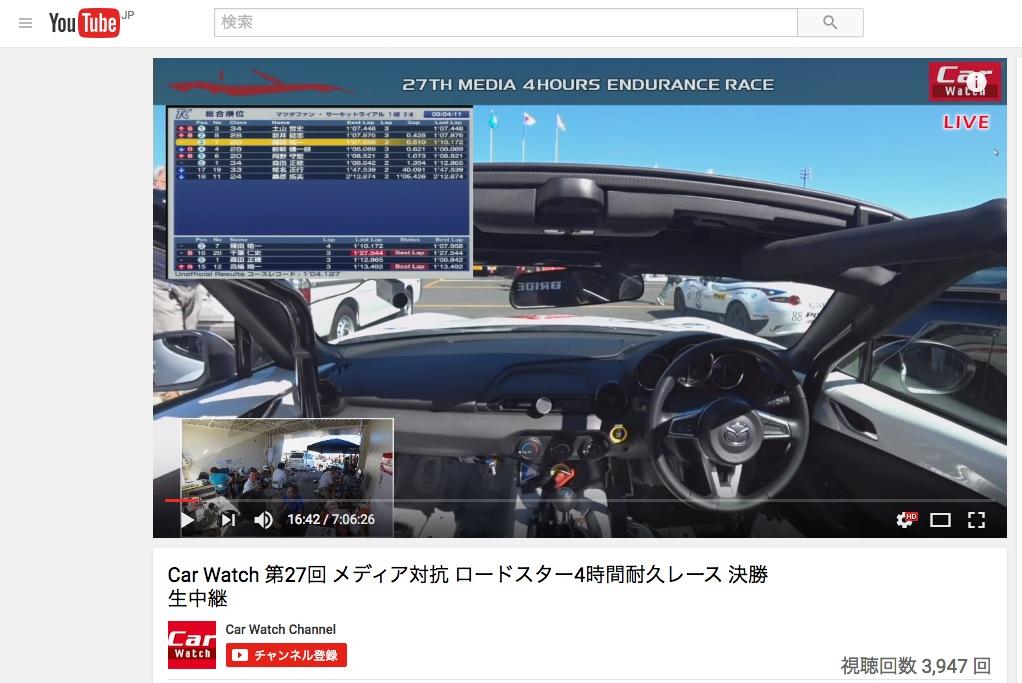 Car Watch 第27回 メディア対抗 ロードスター4時間耐久レース 決勝
